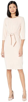Adrianna Papell Knit Crepe Tie Waist Sheath Dress (Blush) Women's Dress