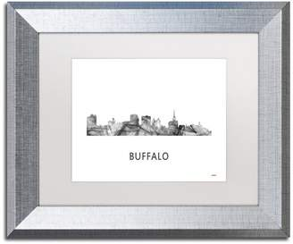 Buffalo David Bitton Trademark Fine Art 'Buffalo New York Skyline' Framed Art, Silver Frame, White Matte