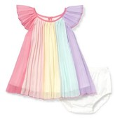 Children's Place The Baby Girl Ruffle Flutter Sleeve Pleated Multicolor Metallic Aline Dress Bloomer 2 Piece Set