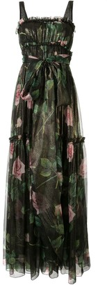 Dolce & Gabbana Rose Print Evening Dress