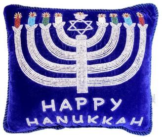 Sudha Pennathur Happy Hanukkah Menorah Hand Embroidered Velvet Pillow