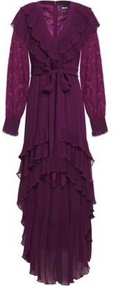 Just Cavalli Asymmetric Paneled Lace And Georgette Dress