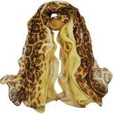 Alysee Women Glamorous Silk Georgette Leopard Print Long Scarf Shawl Wrap Color