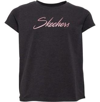 Skechers Girls Alia Jersey Print T-Shirt Charcoal Marl