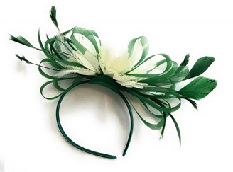 Caprilite Green and Cream Feather Hair Fascinator Headband Wedding and Royal Ascot Races Ladies
