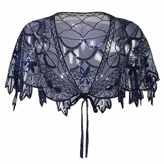 KaloryWee 2019 Sale Women's 1920s Shawl Beaded Sequin Deco Evening Cape Bolero Flapper Cover up Blue