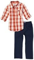 Kids Headquarters Orange Tab-Sleeve Button-Up & Navy Pants - Toddler & Boys