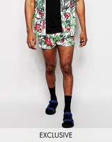 Reclaimed Vintage Beach Shorts In Floral Print - White