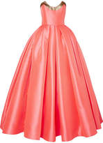 Reem Acra - Lamé-trimmed Satin-jacquard Gown - Coral