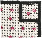 Twin-Set branded rose print frayed edge scarf