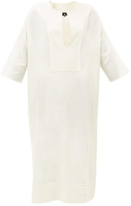 SU PARIS Pia Slit-front Cotton-blend Tunic Dress - Cream