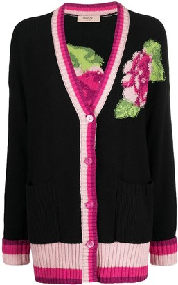 Twin-Set Floral-Detail Intarsia-Knit Cardigan