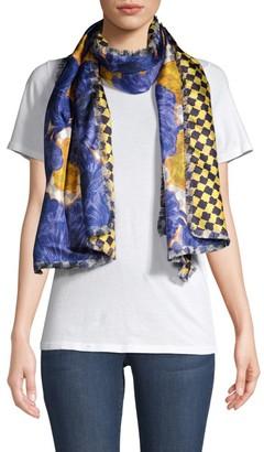 Etro Floral & Check Silk Scarf