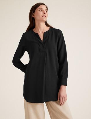 Marks and Spencer Plain V-Neck Long Sleeve Tunic