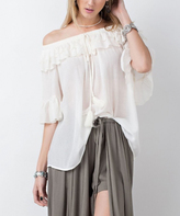 Jane Off-White Sheer Ruffle-Accent Off-Shoulder Top