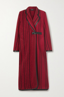 Akris Leather-trimmed Wool-blend Tweed Coat - Red