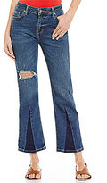 Free People Color Block Cropped Denim Jeans
