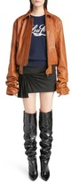 Saint Laurent Women's Oversize Sleeve Leather Bomber