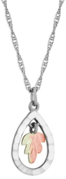 """Black Hills Gold Teardrop Pendant 18"""" Necklace in Sterling Silver with 12K Rose and Green Gold"""
