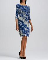 Kay Unger New York Boat-Neck Print Mesh Dress
