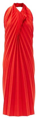 A.W.A.K.E. Mode Halterneck Pleated-crepe Midi Dress - Red