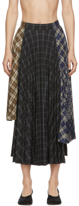 Rokh Multicolor Asymmetric Pleat Skirt