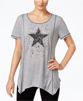 Style&Co. Style & Co. Star Graphic Handkerchief-Hem Top, Only at Macy's