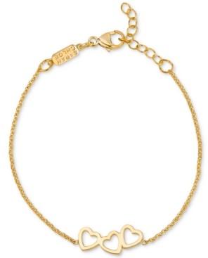 Sarah Chloe Triple Heart Adjustable Link Bracelet in 14k Gold-Plated Sterling Silver