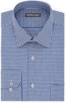 Geoffrey Beene Men's Fitted Textured Check Spread Collar Dress Shirt