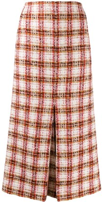 Victoria Beckham Fitted Tweed Midi Skirt