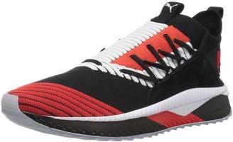 Puma Men's Tsugi JUN Cubism Sneaker Black White-Flame Scarlet 13 M US