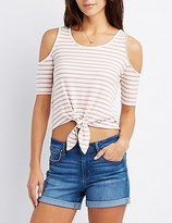 Charlotte Russe Striped Cold Shoulder Knotted Top