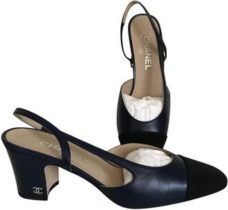 Chanel Slingback Navy Leather Heels