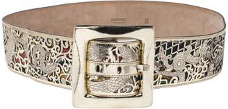 Roberto Cavalli Gold Lasercut Patent Leather Buckle Waist Belt 95CM