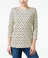 Charter Club Button-Shoulder Print Top, Only at Macy's