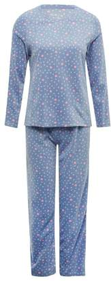 M&Co Heart print fleece pyjama set