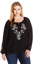 Single Dress Women's Plus Size Embroidered Long Sleeve Peasant Blouse