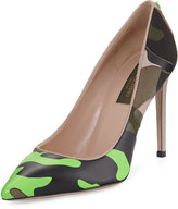 Valentino Camouflage-Print Leather 100mm Pump