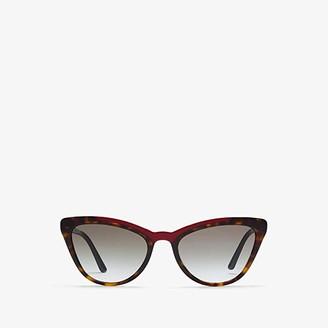 Prada 0PR 01VS (Havana/Red Top Bar/Grey Gradient) Fashion Sunglasses
