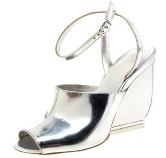 Maison Margiela Silver Patent Leather Mirror Heel Ankle Strap Sandals Size 35