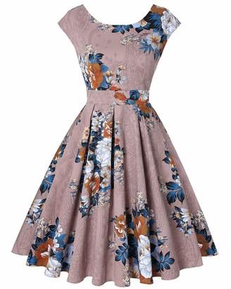 MINTLIMIT Womens Elegant Cocktail Midi Dress Crewneck Sleeveless Vintage Pleated Dress(Floral Navy Size XL)