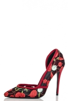 Quiz Black And Red Mesh Flower Embroidered Court Shoes