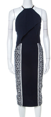 Roland Mouret Navy Blue & White Crepe & Tweed Zip Strap Detail Paneled Midi Dress S