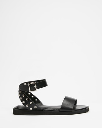 Betsy - Women's Black Flat Sandals - Studded Ankle Strap Sandals - Size 36 at The Iconic