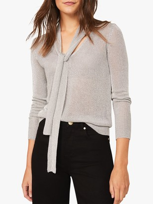 Phase Eight Matil Tie Neck Knit Top, Silver