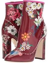 Dolce & Gabbana Laminato Leather Bootie High Heels