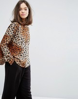Monki Leopard Boxy Shirt