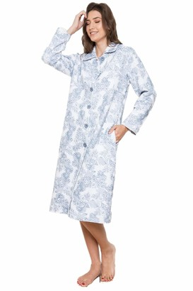 Cotton Real Ladies 100% Cotton Grey Palm Leaf Floral Quilted Button Up Robe Dressing Gown from Cottonreal (S)