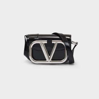 Valentino Little Shoulder Bag Supervee In Black Patent Leather