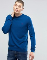 Fred Perry Sweater With Crew Neck In Service Blue